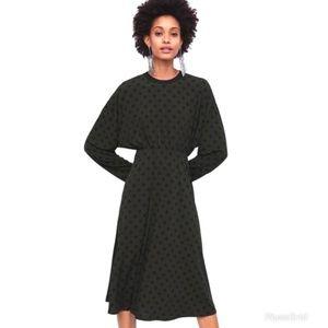 Zara Olive Green Polka Dot Midi Dress